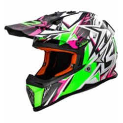 Kask LS2 MX437J FAST STRONG WHITE GREEN PINK